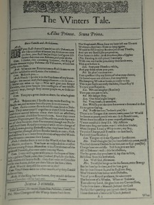 First folio of The Winter's Tale