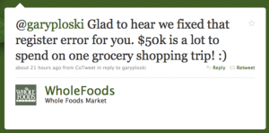 Whole foods reply via Twitter