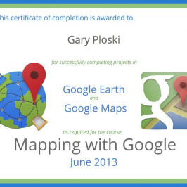 My Google Maps & Earth Certificate